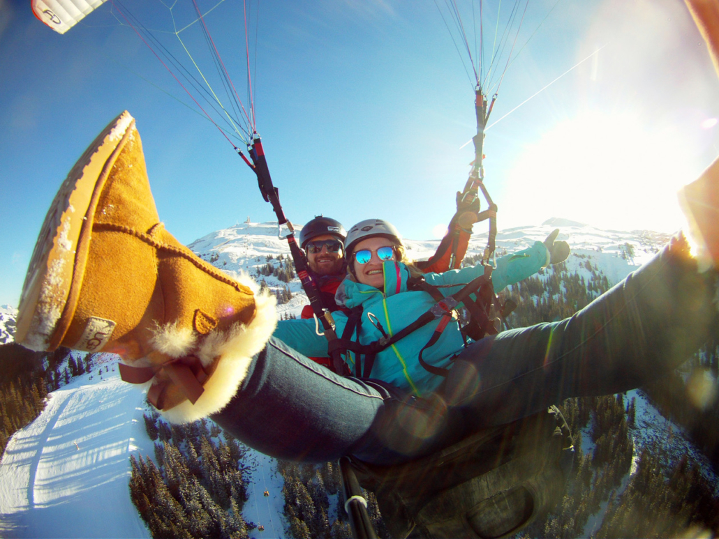 Winter paragliding fun in Zell am See