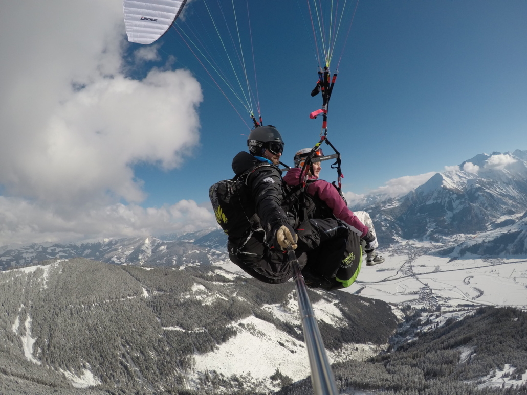 Winter paragliding Zell am See in holiday in Austria
