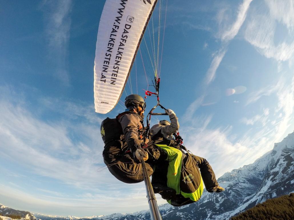 Paragliding Kaprun Winter Tandemflug Zell am See mit Falken Air